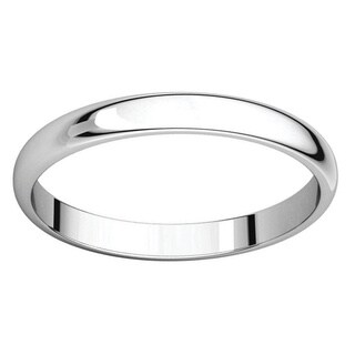 Sterling Silver Half-round Polished Wedding Band Ring - White (Option: 12.5)