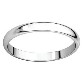 Sterling Silver Half-round Polished Wedding Band Ring - White