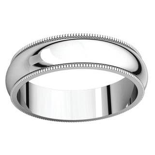Sterling Silver Half-round Milgrain Wedding Band Ring - White|https://ak1.ostkcdn.com/images/products/14201106/P20796205.jpg?impolicy=medium