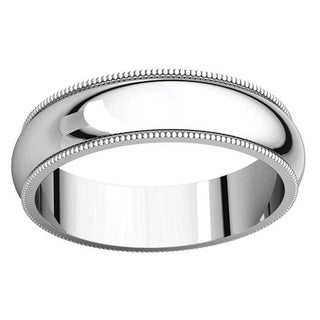 Sterling Silver Half-round Milgrain Wedding Band Ring - White