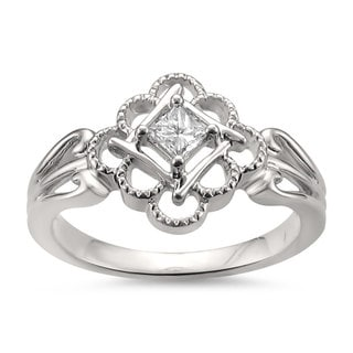 Montebello Jewelry 14k White Gold 1/5ct TDW Princess-cut Antique-Style Engagement Ring (H-I, I1-I2)