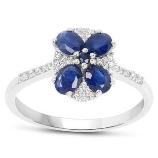 Malaika 14k White Gold 1 1/10ct TGW Blue Sapphire and White Diamond Accent Ring