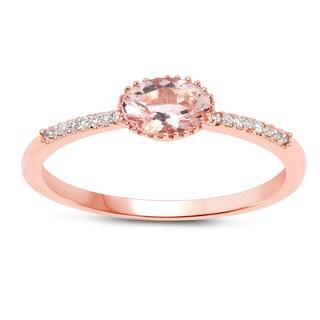 Malaika 14k Rose Gold 1/2ct TGW Morganite and White Diamond Accent Ring