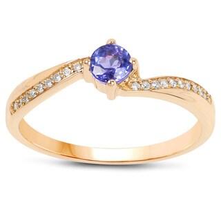 Malaika 14k Yellow Gold 1/3ct TGW Tanzanite and White Diamond Accent Ring