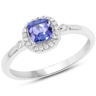 Malaika 14k White Gold 5/8ct TGW Tanzanite and White Diamond Accent Ring