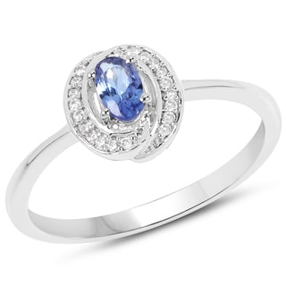 Malaika 14k White Gold 1/3ct TGW Tanzanite and White Diamond Accent Ring