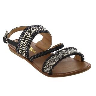 Nature Breeze FG88 Women's Slingback Embroidered Summer Flat Sandals