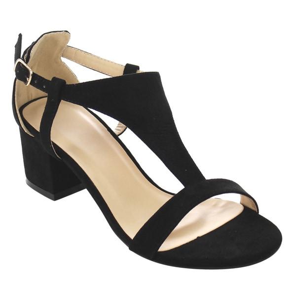 Beston FG94 Women's T-strap Cutout Side Block Heel Dress Sandals ...