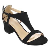 Beston FG94 Women's T-strap Cutout Side Block Heel Dress Sandals