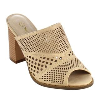 Nature Breeze Women's FG91 Slip-on Cut-out Peep Toe Mule Sandals