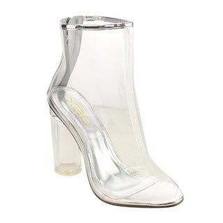 X2B Women's FG97 Ankle-high Peep-toe Lucite-heel Bootie Sandals
