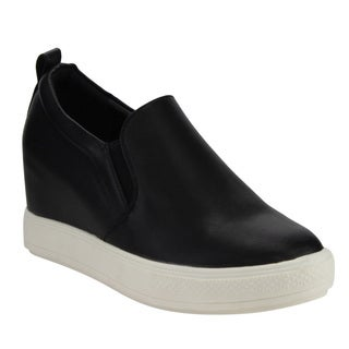 Beston Women's DE07 Faux-leather Low Platform Slip-on Elastic Hidden-heel Wedge Sneaker