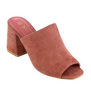 Nature Breeze Women's Faux Suede Peep-toe Block Heel Mule Sandals (2 options available)
