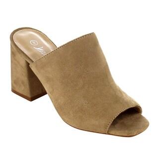 Nature Breeze Women's Faux Suede Peep-toe Block Heel Mule Sandals