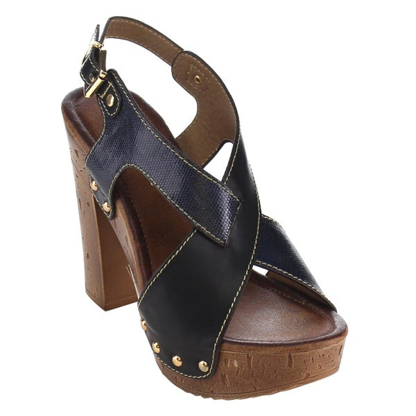 78dab11f14323 Nature Breeze Women  x27 s FG77 Faux-leather Criss-cross Strap Slingback