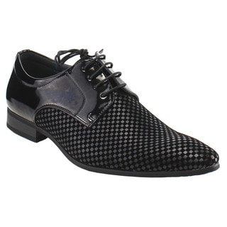 UV Signature FG66 Men's Black Faux Leather Lace-up Oxford Shoes