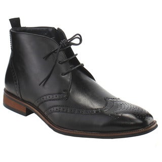 UV SIGNATURE FG68 Men's Faux-leather Lace-up Full Brogue Wingtip Ankle Booties