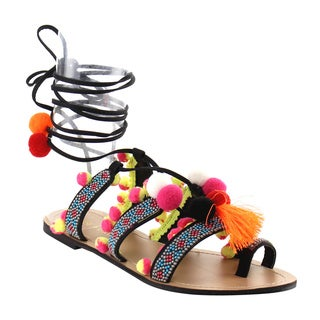 Chase and Chloe Women's Faux Leather Leg Wrap Tassel Pom Pom Beads Flat Sandals