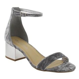 CityClassified Women's IC83 Silver Single-band Buckle Ankle-strap Block-heel Sandal