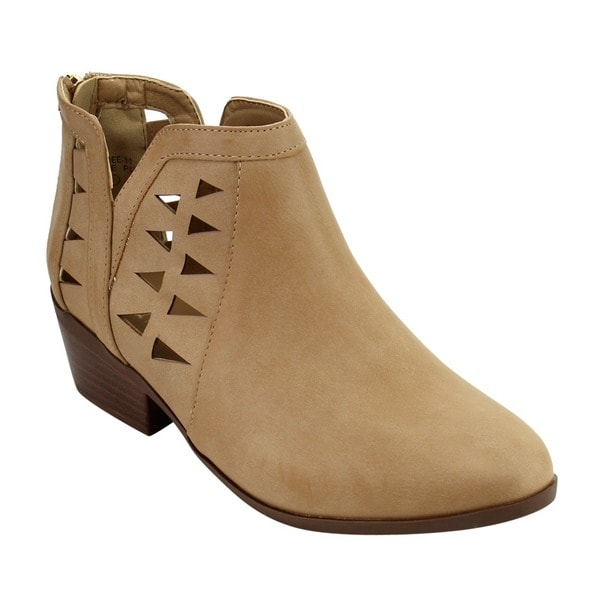 IC64 Women Side Cut-out Back Zipper Stacked Chunk Heel Ankle Bootie