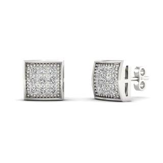 10k White Gold 1/20ct TDW Diamond Cluster Stud Earrings (H-I, I2)