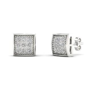 10k White Gold 1/20ct TDW Diamond Cluster Stud Earrings