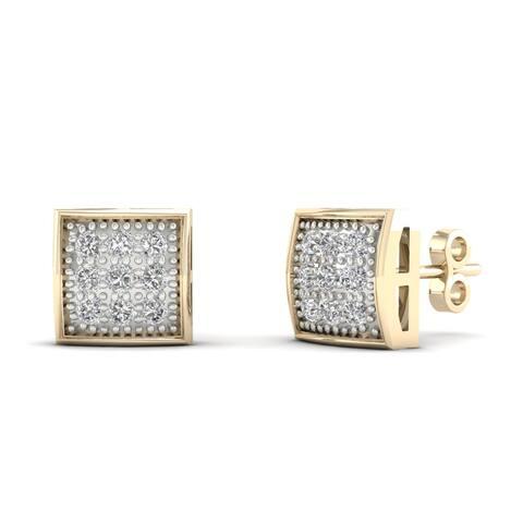 IGI Certified 10k Yellow Gold 1/20ct TDW Diamond Cluster Stud Earrings