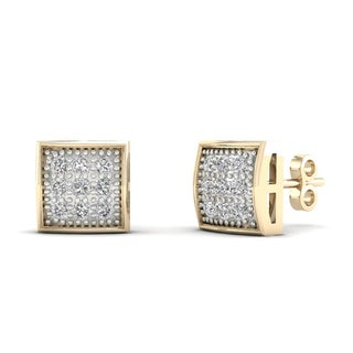 10k Yellow Gold 1/20ct TDW Diamond Cluster Stud Earrings
