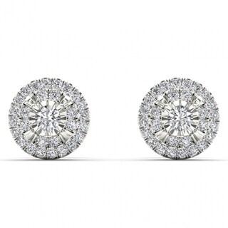 De Couer 10k White Gold 1/4ct TDW Diamond Cluster Earrings (H-I, I2)