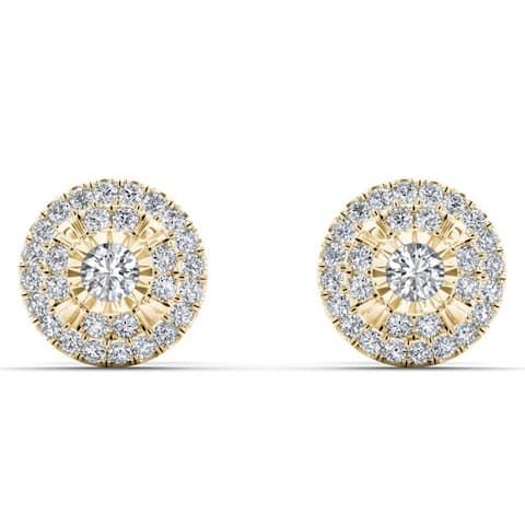 De Couer 10k Yellow Gold 1/4ct TDW Diamond Cluster Earrings