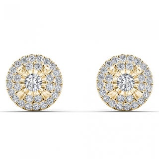 De Couer 10k Yellow Gold 1/4ct TDW Diamond Cluster Earrings (H-I, I2)