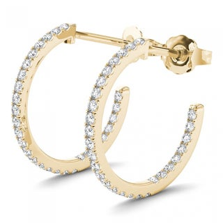 De Couer 10k Yellow Gold 1/2ct TDW Diamond Hoop Earrings