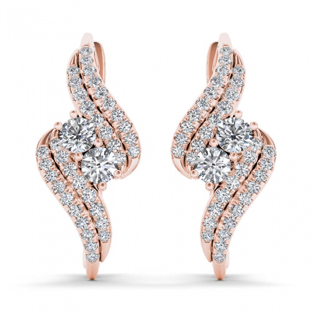Shop De Couer IGI Certified 10k Rose Gold 3/4ct Diamond Two-Stone Hoop Earrings - Pink - Overstock - 14201957