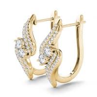 De Couer 10k Yellow Gold 3/4ct Diamond Two-Stone Hoop Earrings