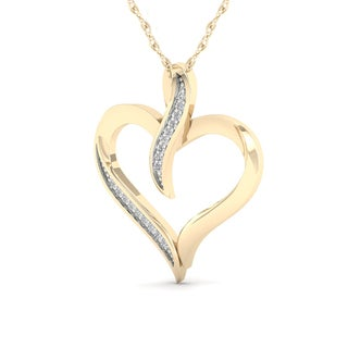 De Couer 10K Yellow Gold 1/20ct TDW Diamond Necklace (H-I, I2)