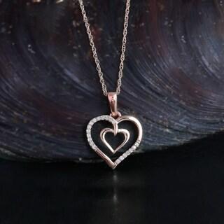 De Couer 10K Rose Gold 1/20ct TDW Diamond Necklace
