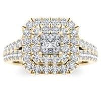 De Couer 14k Yellow Gold 1 1/2ct TDW Diamond Halo Ring