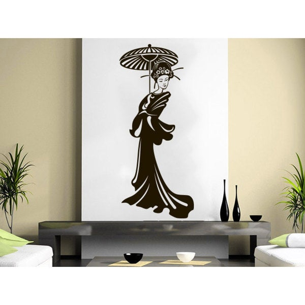Geisha Vinyl Girl Manga Oriental Girl Japan Japanese Home Decor Art Bedroom Sticker Decal size 22x35 Color Black