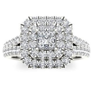 De Couer 14k White Gold 1 1/2ct TDW Diamond Halo Ring