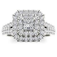 De Couer 14k White Gold 1 1/2ct TDW Diamond Halo Ring
