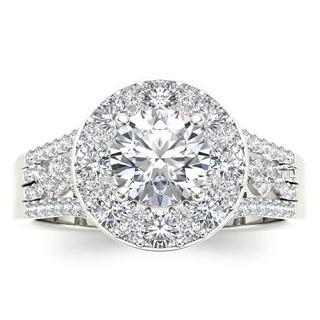 De Couer 14k White Gold 1 1/2 ct TDW Diamond Halo Ring
