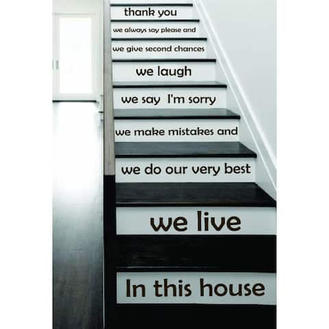 Stair Quotes Stairway Quote in this house we live Lettering Family Home Staircase Sticker Decal size 22x30 Color Black