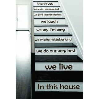 Stair Quotes Stairway Quote In this house we live Lettering Family Home Staircase Sticker Decal size