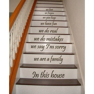 Stair Quotes Stairway We are a family In this house Family Home Decor Staircasem Sticker Decal size 33x45 Color Black