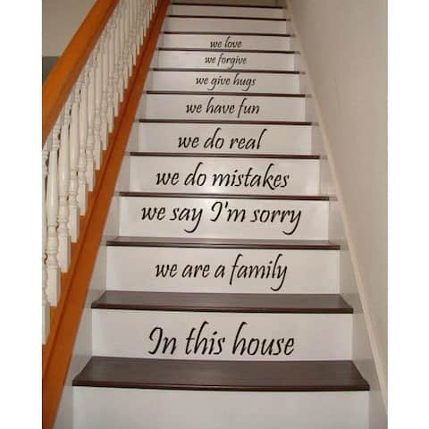 Stair Quotes Stairway We are a family in this house Family Home Decor Staircasem Sticker Decal size 48x65 Color Black