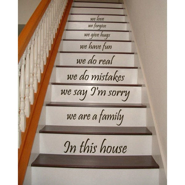 Stair Quotes Stairway We are a family in this house Family Home Decor Staircasem Sticker Decal size 48x65 Color Black. Opens flyout.