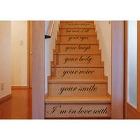Stair Quotes Stairway Love Quote I'm in love with your smile Phrase Nursery Staircase Sticker Decal