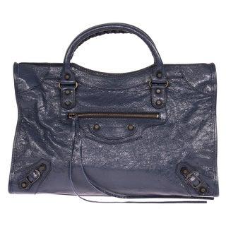 Balenciaga Classic City Medium Blue Obscur & Rustic Brass Hardware Leather Handbag