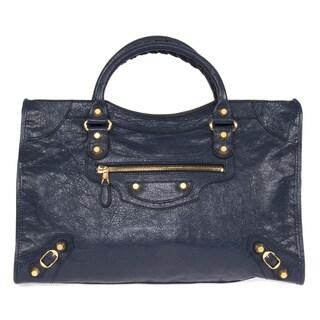Balenciaga Giant City Medium Bleu Obscur & Gold Metal Hardware Leather Bag Handbag