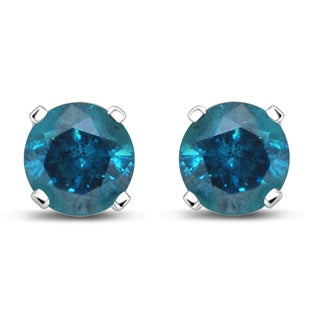 Unending Love 1ct 14K White Gold 4-prong Tiffany Treated Blue Stud Earrings